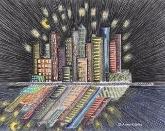 funky art, funky wall art, cityscapes, cityscape art, cityscape wall art, animation art, drawing & illustration, unique art, original art