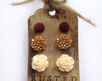 Flower Earrings - Earring Set - Rose Earrings - Stud Earrings - Burgundy - Christmas Gift - Fall Fashion - Autumn Jewelry - Boho Earrings