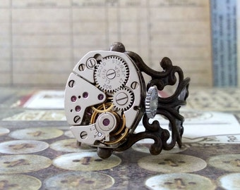 Elgin Watch Movement Ring, Steampunk Ring, Antique Brass Ring, Steampunk Jewelry, Elgin Watch, Antique Ring, Elgin, Brass Ring, Anti