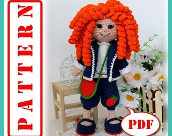 Curly Haired Doll - Crochet toy Amigurumi pattern PDF