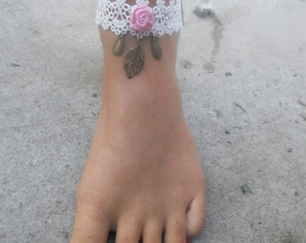 ankle lace pink and white tower.