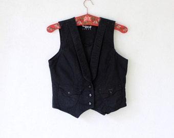 Women's Black Denim Vest Sleeveless Vest Top Medium Size