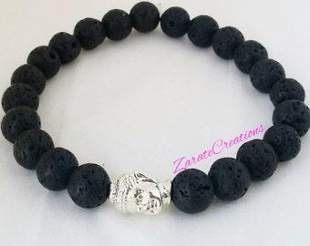 Buddha 8mm Lava Stone Bracelet