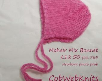 Newborn Baby Bonnet handmade knitted soft mohair mix Photography prop