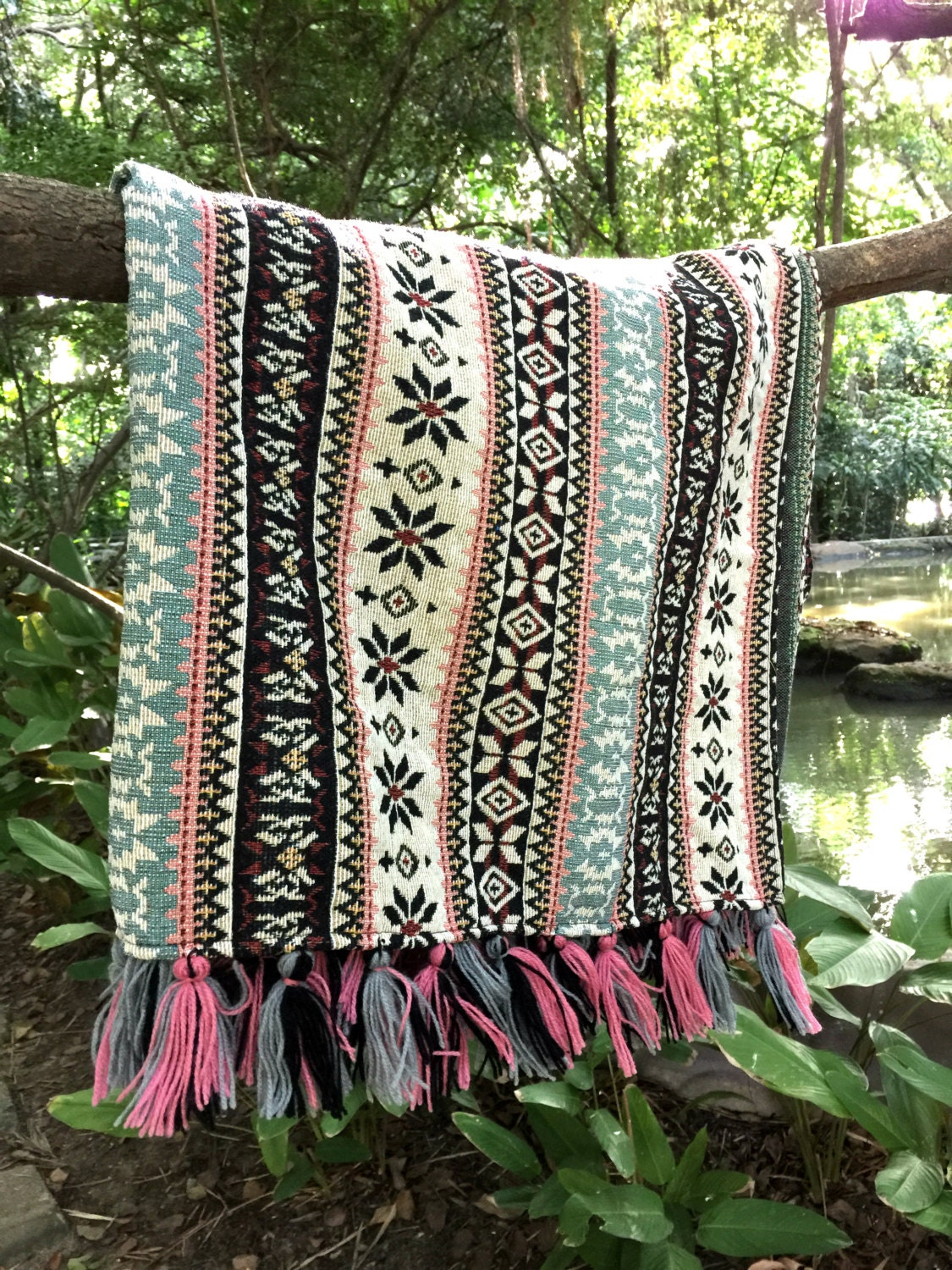 Bohemian Throw Blanket 38 X 59 Inchestribal Aztec