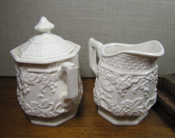 Vintage Creamer and Covered Sugar Dish