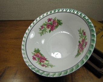 Vintage Small Serving Bowl - Green Lusterware Rim - Pink Flowers