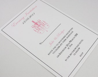 Chandelier Wedding Invitations x 10 Pink and White