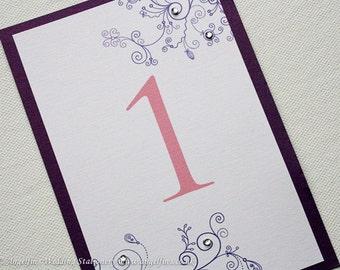 Cadburys Purple Swirls Table Numbers