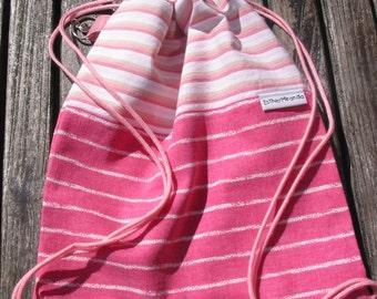 Pink Marble Bag, Childrens Bag, Drawstring bag