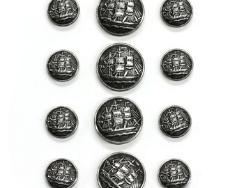 Sets of Antique Silver Sailing Ship Buttons in Two Sizes, Made in France