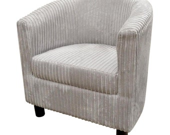 Tub Chair Upholstered in a Luxurious Silver Jumbo Cord Fabric With Mahogany Wood Legs