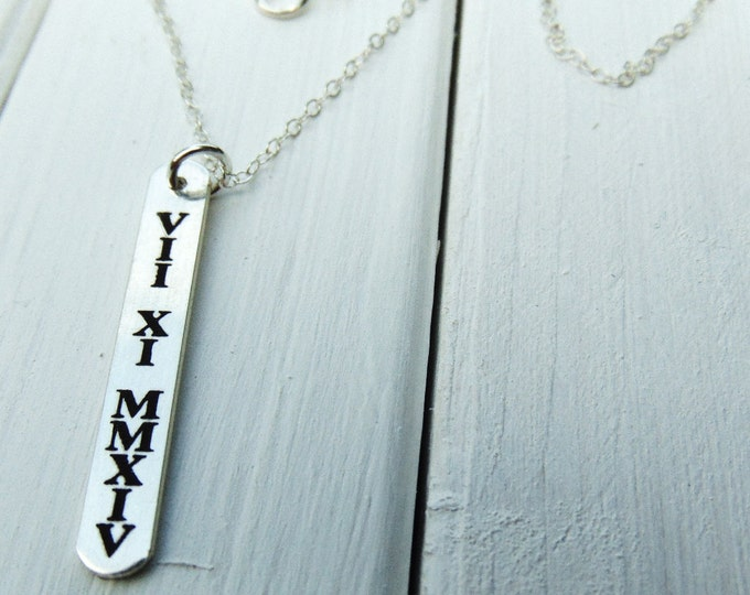 """Sterling Silver Roman Numeral Necklace (1.250""""  .200"""") Mother's Day Gift for Mom or from Mom"""
