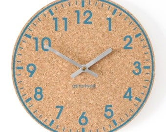 Wall Clock - Eco friendly cork - Blue with Silver hands
