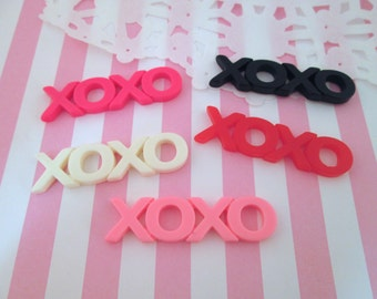 "Large multicolor ""XOXO"" Word Cabochons, Hugs and Kisses, Pick Your Amount, #304"