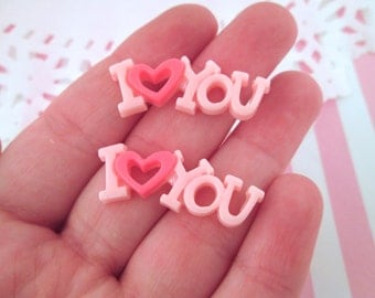 "Pink Resin ""I Love You"" Valentine's Cabochons, Pick Your Amount, #294"