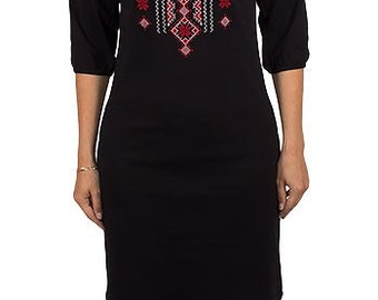 Соtton tricot dress with ukranian embrodery. Folk dress.Etnic dress