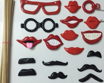 21 PCS Red Polymer Clay Lips and Mustache Props, Photobooth Props, Photo Props, Wedding Photo Booth props, Birthday Photo Booth Props