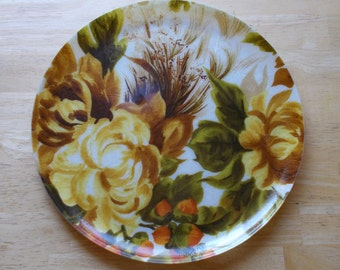 Fiberglass Serving Tray Fall Flowers and Nuts