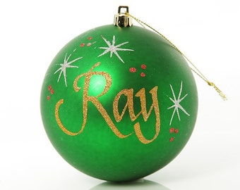Personalised Green Shatterproof Bauble - Large