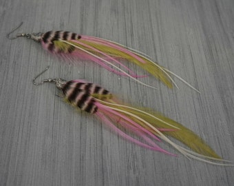 Long Feather Earrings in Light Pink, White, Lime Green and Grizzly Wire Wrapped