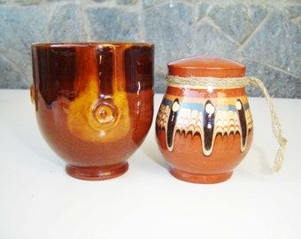 Set of Antique Traditional Bulgarian pottery cup and ceramic salt shaker / Collectible Bulgarian Folk pottery set/ table service