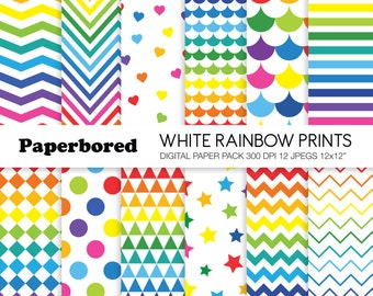WHITE RAINBOW PRINTS Digital Paper Pack, Assorted Rainbow Patterns on White Backgrounds / Instant Download