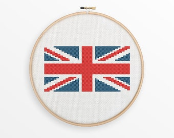Union Jack Cross Stitch Pattern - Great Britain, Anglophile Gift, Modern Counted Cross Stitch - INSTANT DOWNLOAD