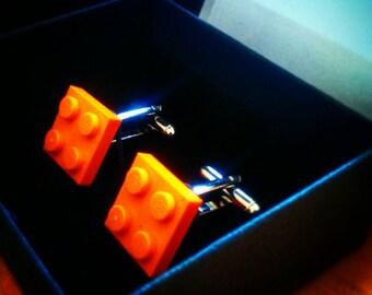 Orange Lego cufflinks gift boxed orange, green, white, red colours