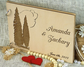 Unique personalized wedding guest book, Wedding-Anniversary-Bridal shower gift, Memory album, Laser engraved, Rustic theme, Wedding decor.
