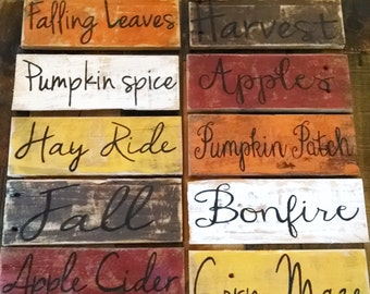 Handmade fall pallet board signs.  handmade pallet sign, handpainted fall sign, hand lettering sign, fall pallet board signs