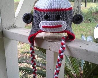 Crochet Sock Monkey Photo Prop Earflap hat in heather grey sz 0-6 months