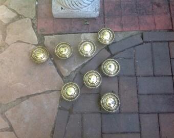 Gold Round Metal Door Knob Handles Wall Decor Lot of 8