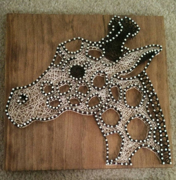 Items Similar To 3 Panel Giraffe Nail And String Art