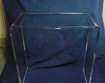 Clear Acrylic Lucite Vanity Table Or Desk With Rounded Front