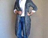 Women's Striped Knit Sweater, Knitted Wool Cardigan, Alpaca Cardigan Long Dolman Sleeve Jacket Loose sweater Gray Alpaca Cardigan Stripes