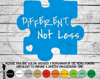 Autism Awareness Different Not Less - Puzzle Piece -  Vinyl Decal Sticker - Available in variety of sizes and colors
