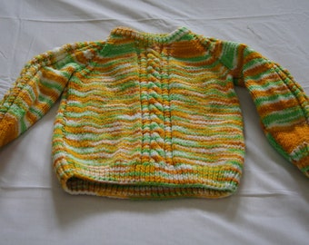 Vintage 1960's - Hand knit children's sweater Neon Yellow Orange Green and white