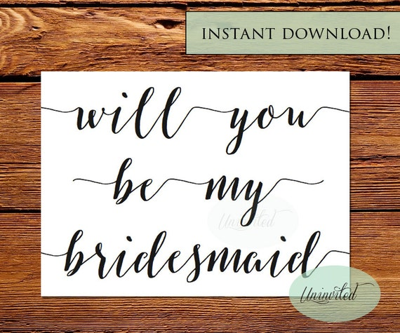 Printable Bridesmaid Invite Instant Download Will You Be My