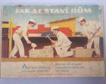 """Vintage Czech Book """"Jak Se Staví Dům"""" or """"How to Build a House"""" by Jiří Schwertner 1956 Fold Out Style Vintage Children's Book. Old Books."""