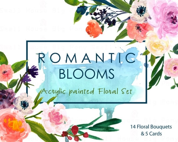 Watercolour Floral Clipart. Handmade, watercolour clipart, wedding diy elements, flowers - Romantic Blooms