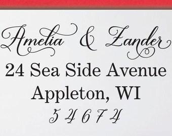 Calligraphy custom stamp - Return Address Stamp - Personalized Address Stamp -Custom Invitation Rubber Stamp Address Stamp- 2M