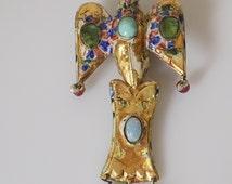 Rare! Antique 19th C. Persian Qajar 18CT Gold and Enamel bird pendant