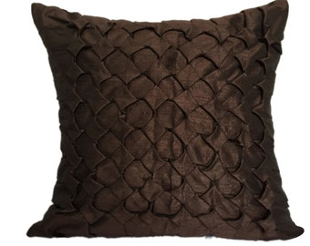 Brown Textured Pillow Brown Textured Sham Brown Smocking Pillow Brown Lattice pillow Brown Trelis Sham Solid Brown Pillow Solid Brown Sham