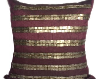 plum decorative pillow cover with silver grey metallic look throw pillow sizes 14x14 16x16 18x18