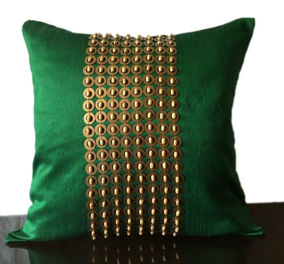 Green Decorative Pillow with Gold Sequin by TheWhitePetalsDecor