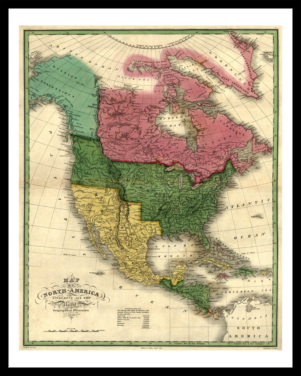Map Of North America Old Maps And Prints Vintage Art - Old maps of america