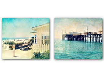 Beach Photography, Set of 2 Photos, Coastal Prints, Aqua Blue Decor, California Wall Art, Pier Picture, Ocean Art, Beach Wall Decor, 8 x 10