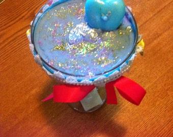 Beautiful Rainbow Wine Glass Candle
