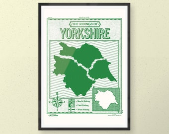 Screen printed Ridings of Yorkshire art print poster